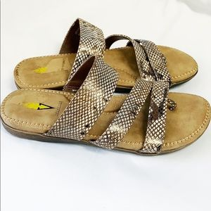 VOLATILE Slip On Sandals Gold Alligator Design